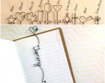 a74e07a96463d Personalized Bookmark with Heart and Bead, Personalized Wire ...