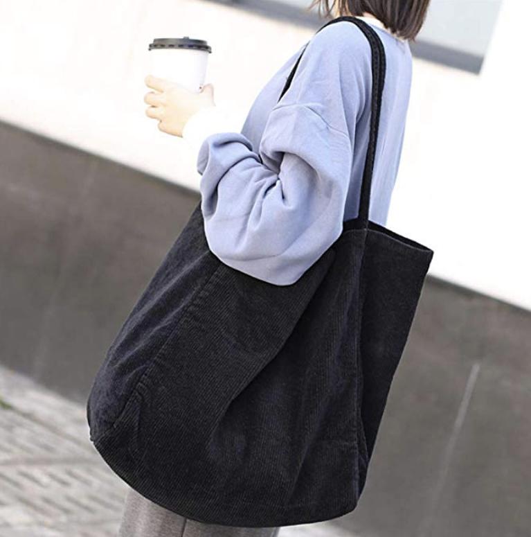 Black Slouchy Corduroy Bag Eco Tote Bag Summer Tote Bags Tote Bag