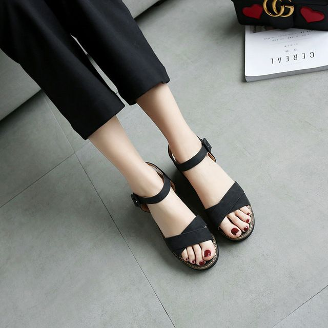 613b6174b OUQINVSHEN Buckle Flat Gladiator Sandals Women Flat Platform Sandals Casual  Fashion Ladies Sandals Brand Large Size Sandal Women-in Women s Sandals  from ...