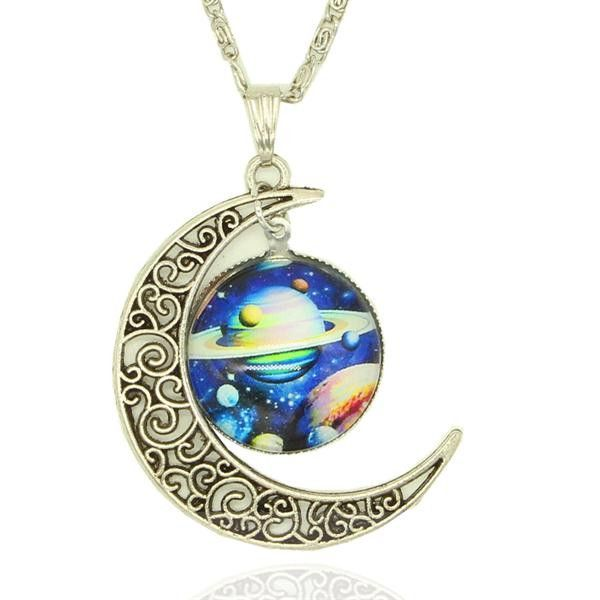 838f87bd61a Nebula and Crescent Moon Necklace