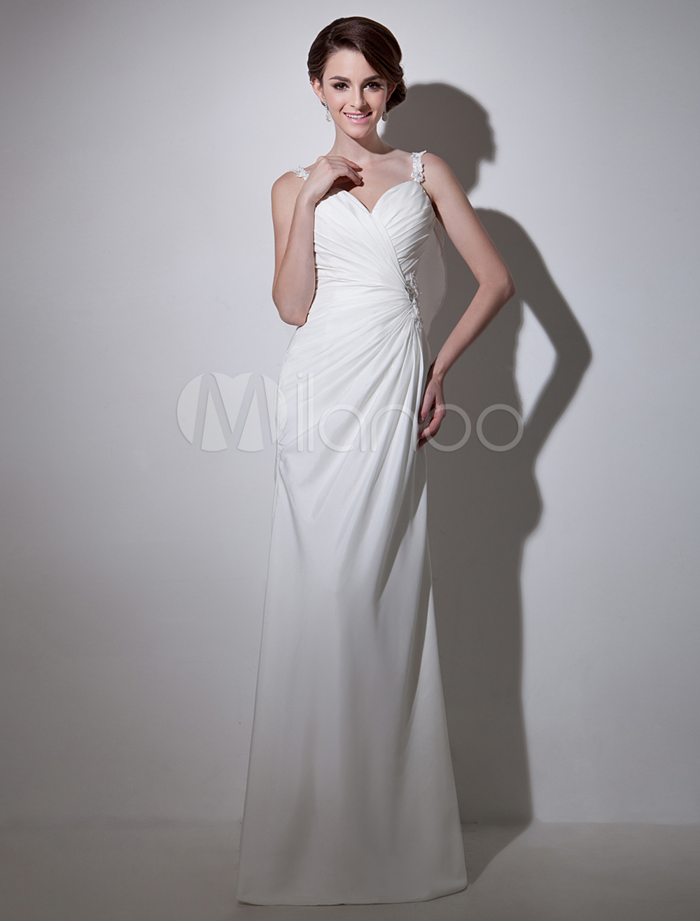 Milanoo ltd wedding dresses white sheath square neck