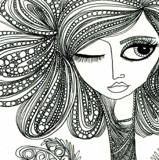 cool face and hair zentangle design - Zentangle - More ...