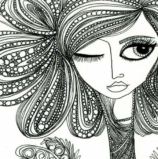 cara fresca y el pelo diseño del zentangle | ilustraciones ...