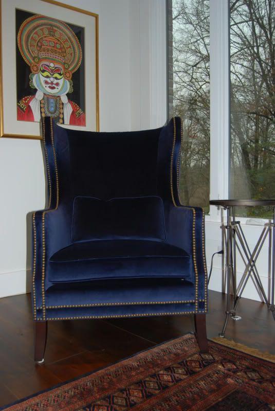 blue velvet wingback chair google search