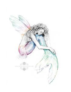 8×10 inch PRINT Mermaids Drift Flying Fish Mermaid with Wings Art Rainbow Colour Splash Pencil Drawing Black and White Signed