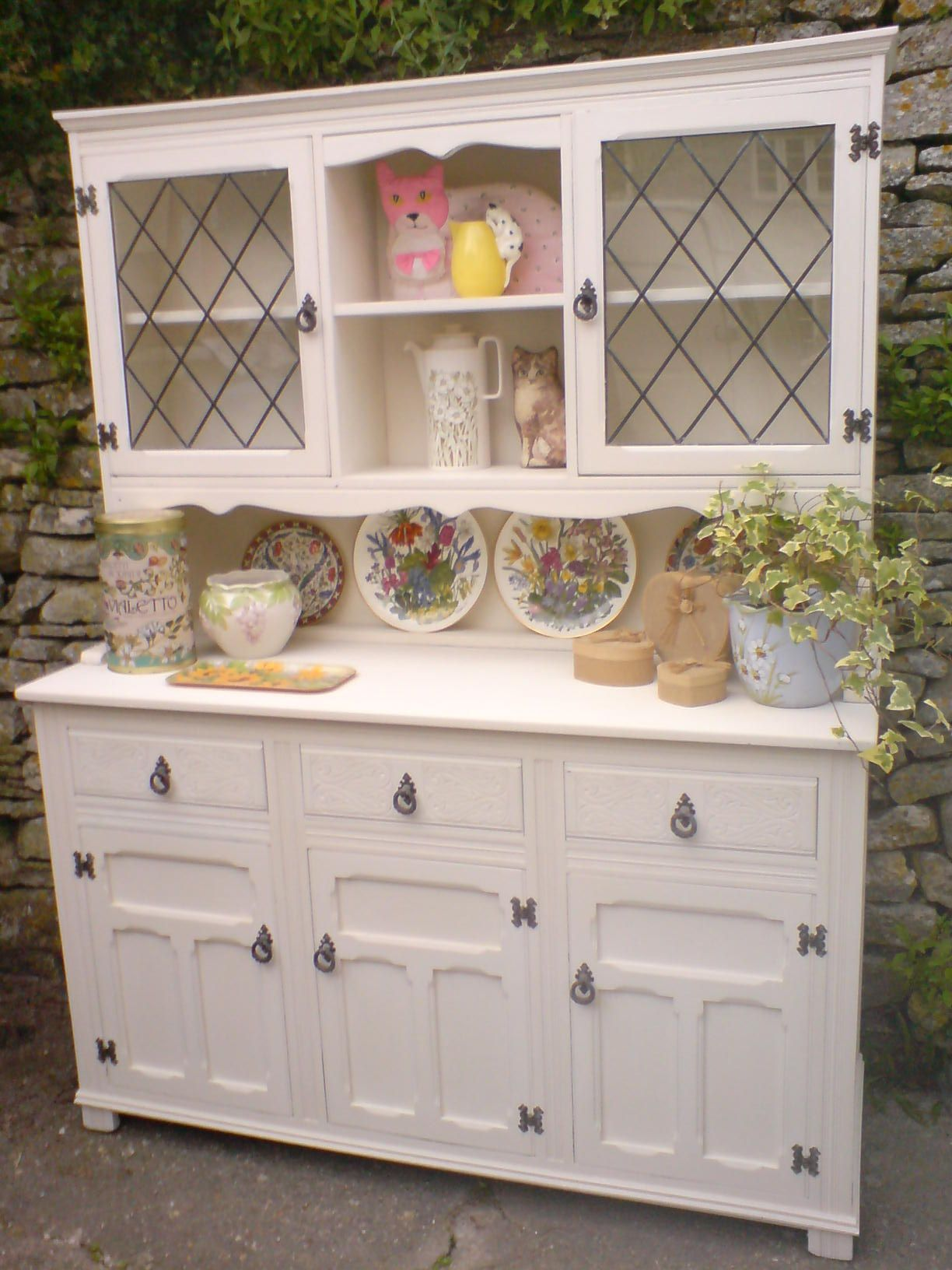 Detail Of Country Style Leaded Window Welsh Dresser Given