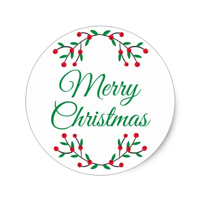 Merry christmas christmas holly classic round sticker custom christmas holiday decals