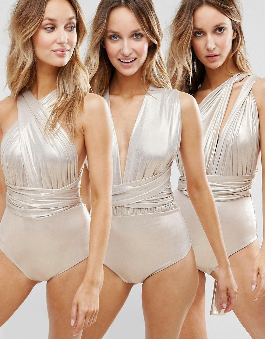 941f422f62 Swimsuit by Goddiva, Stretch swim fabric, Metallic finish, Mulitway design,  Comes with two long straps, Wrap, knot, twist the straps to create your  look, ...