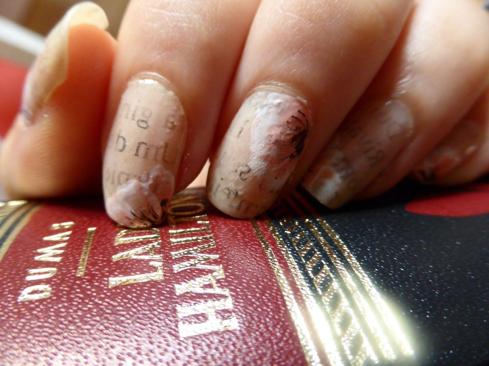 newspaper nails   my nails   Pinterest   Zeitungspapier nägel und ...