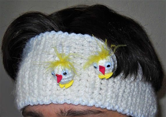 Crochet white Angora headband, crochet angora ear warmer, white ...