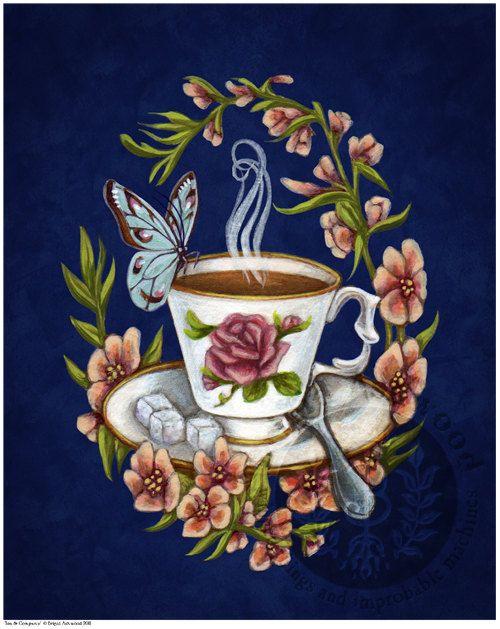 Victorian Steampunk Tea Cup Butterfly  Art Print  by brigidashwood, $15.00