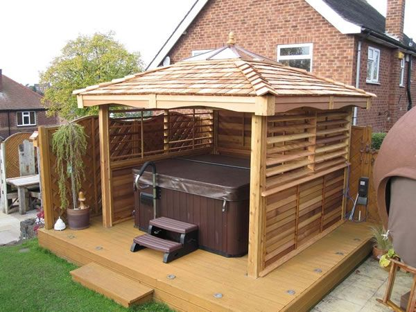 Square Cedar Gazebos Hot Tub Garden Rooms Hot Tub Gazebo Hot
