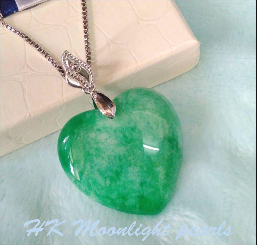 Green heart shape natural jade pendant s925 silver necklace lady green heart shape natural jade pendant s925 silver necklace lady love gift pendant mozeypictures Choice Image