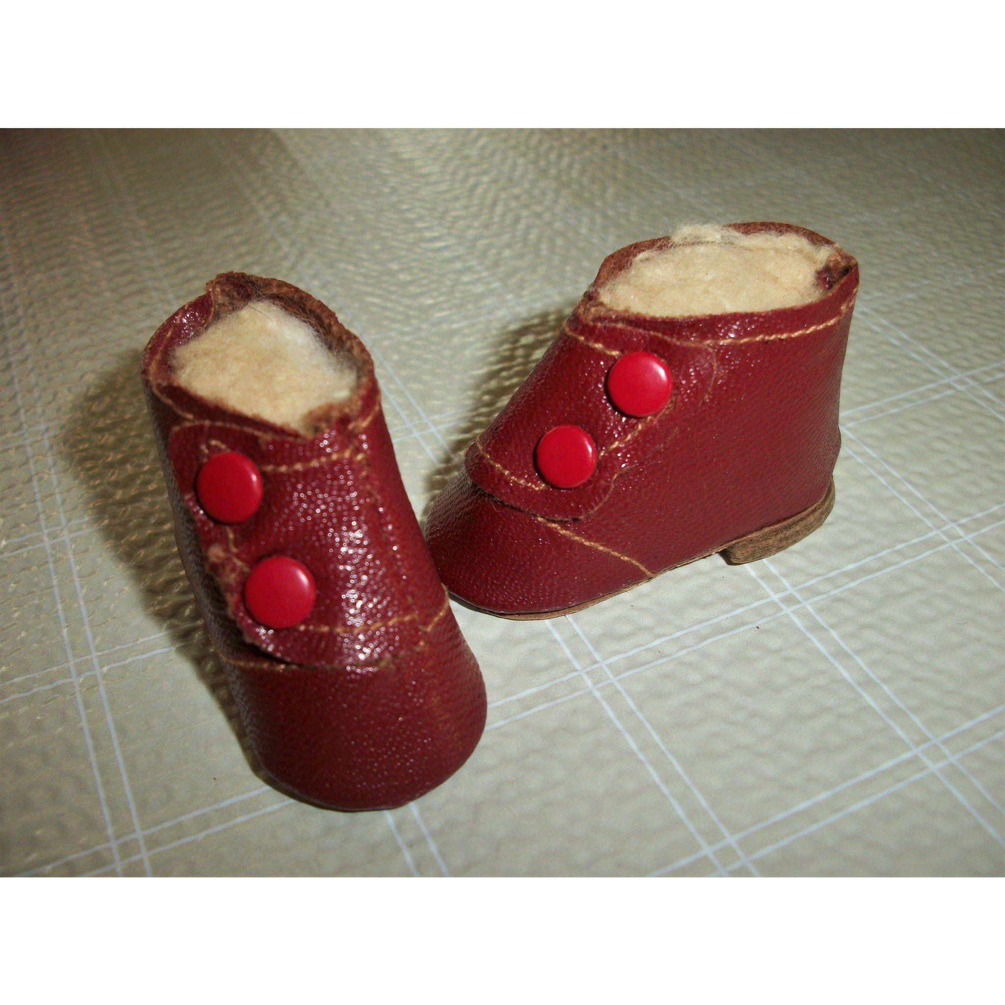 """Vintage madame alexander 7//8"""" doll black slip on shoes"""