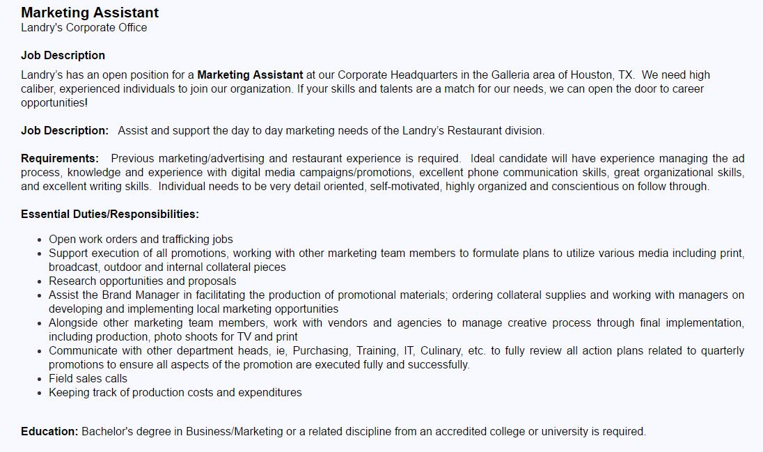 Landry S Inc Position Marketing Assistant Job Opportunity