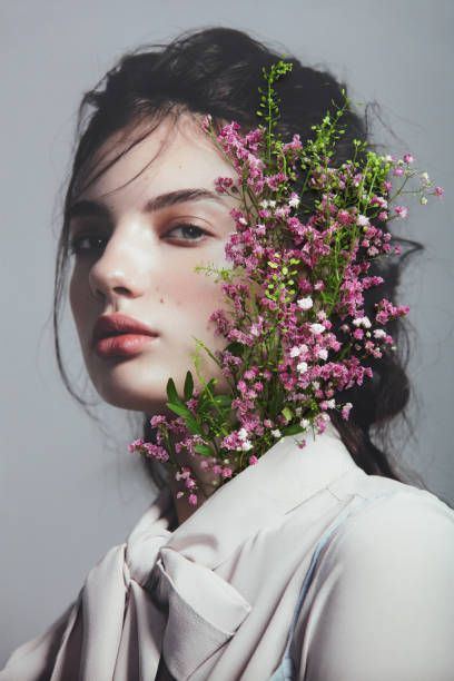 Analog Collage With Female Portrait And Pink Flowers Creative Portrait Photography Flower Photoshoot Creative Photoshoot Ideas