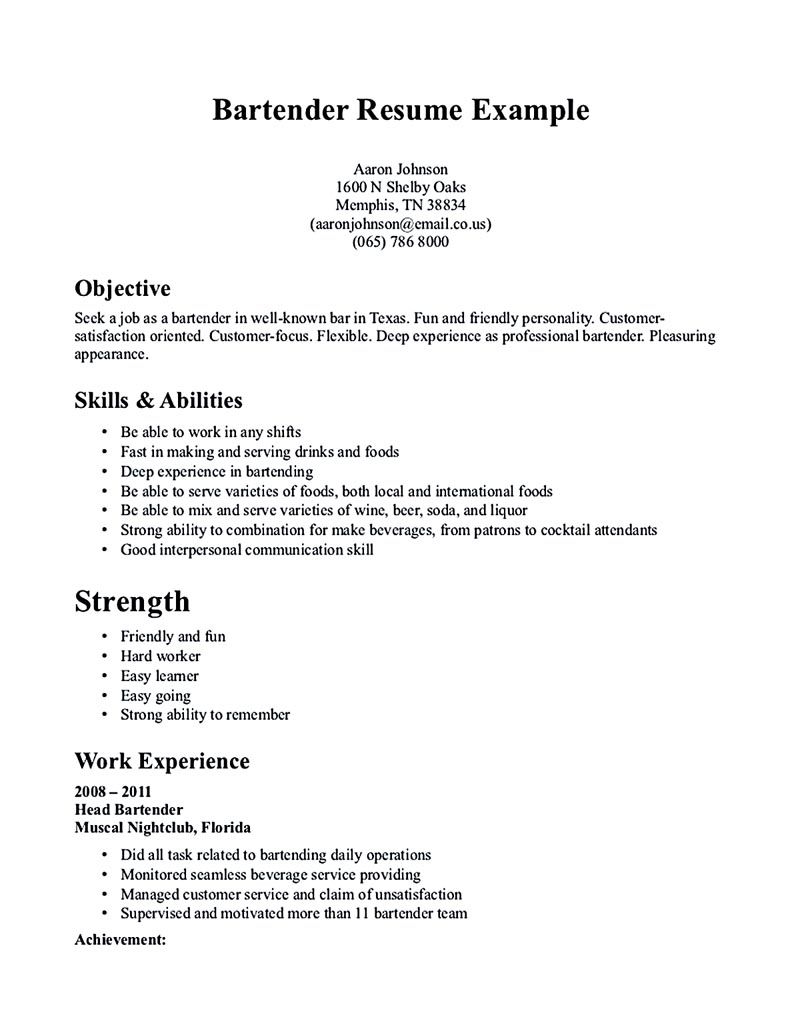 Sample Resume For Bartender Server