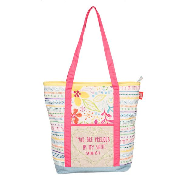 "Precious Quilted Tote Bag! Cheerful, fuchsia bands frame the embroidered Scripture passage on this sturdy quilted tote:  ""You are precious in my sight"" (Isaiah 43:4)."