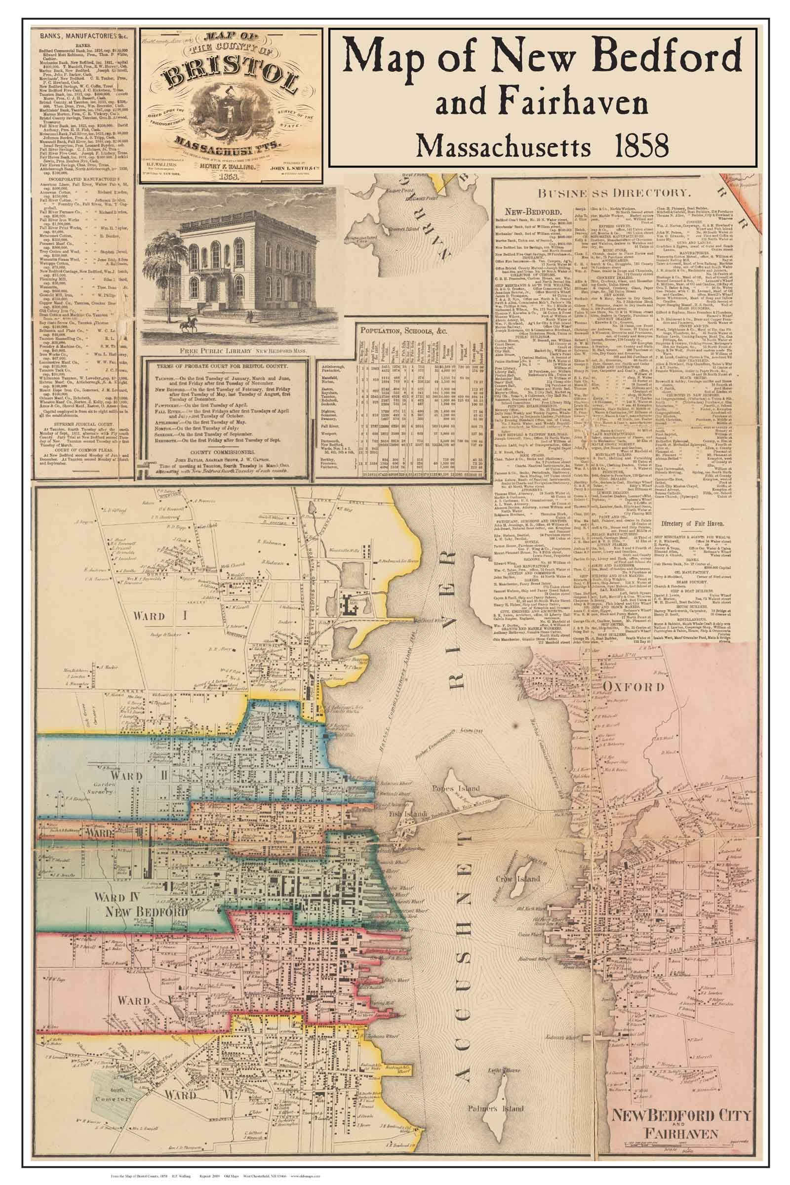 new bedford maps New Bedford MA 1858 Bristol County Map APT