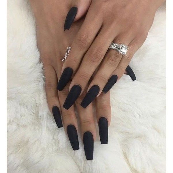Black Acrylic Nails ❤ liked on Polyvore featuring beauty products ...