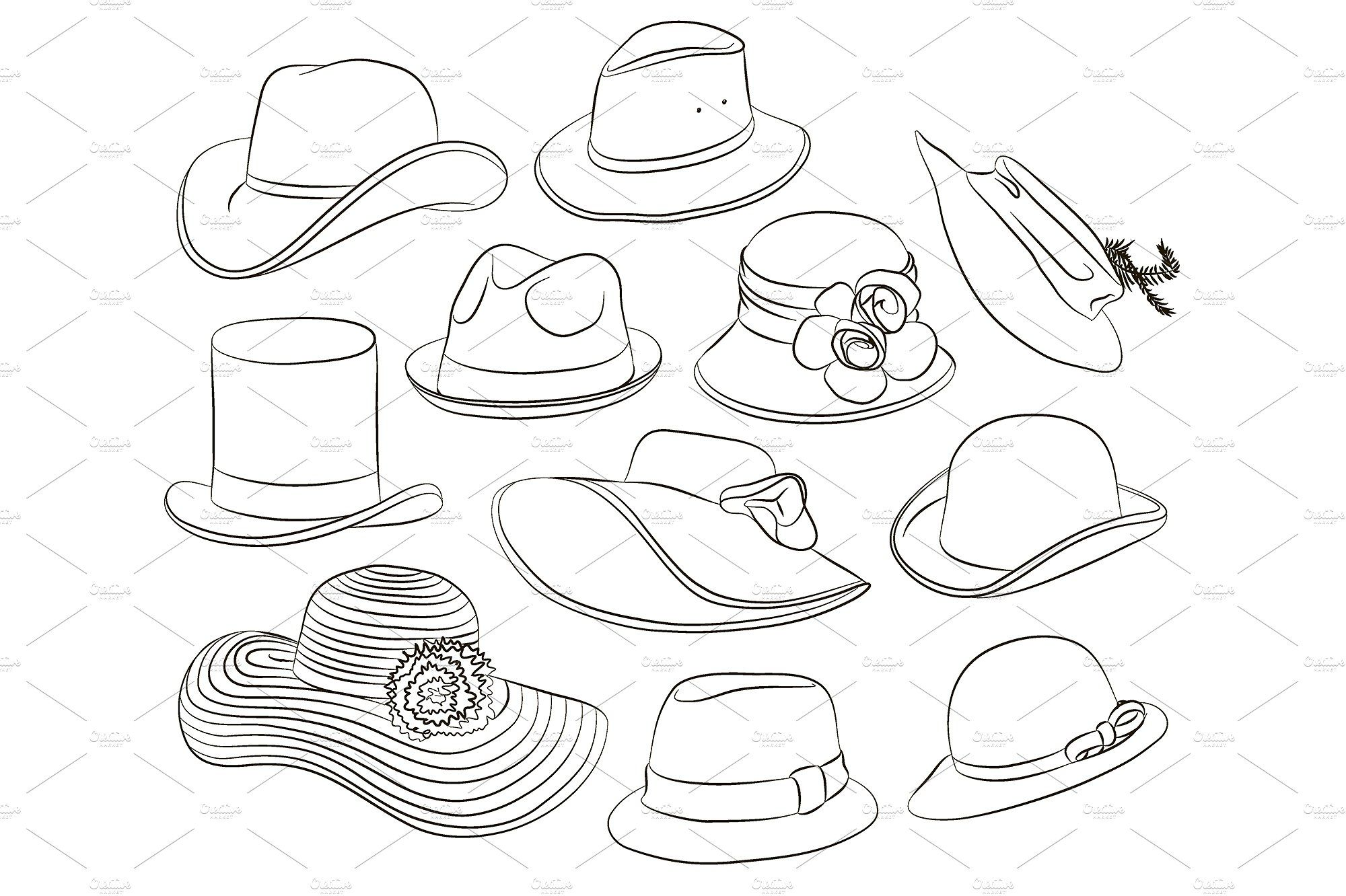 Vector Set Of Man And Woman Hats