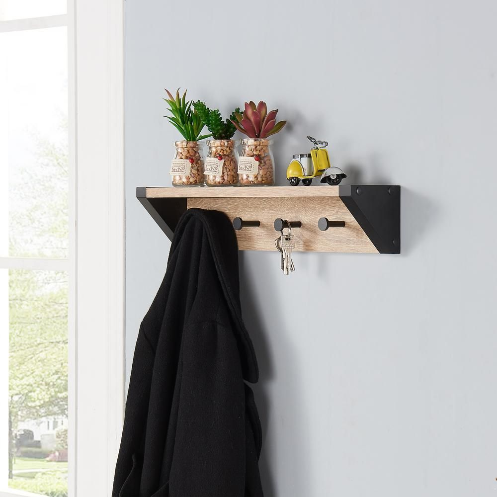 20 in. x 4 in. Rustic Weathered Oak and Black Hanging Rack with Top Shelf, Blacks