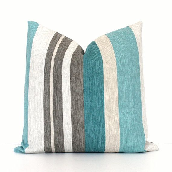 Teal And Grey Stripe Decorative Designer Pillow Cover