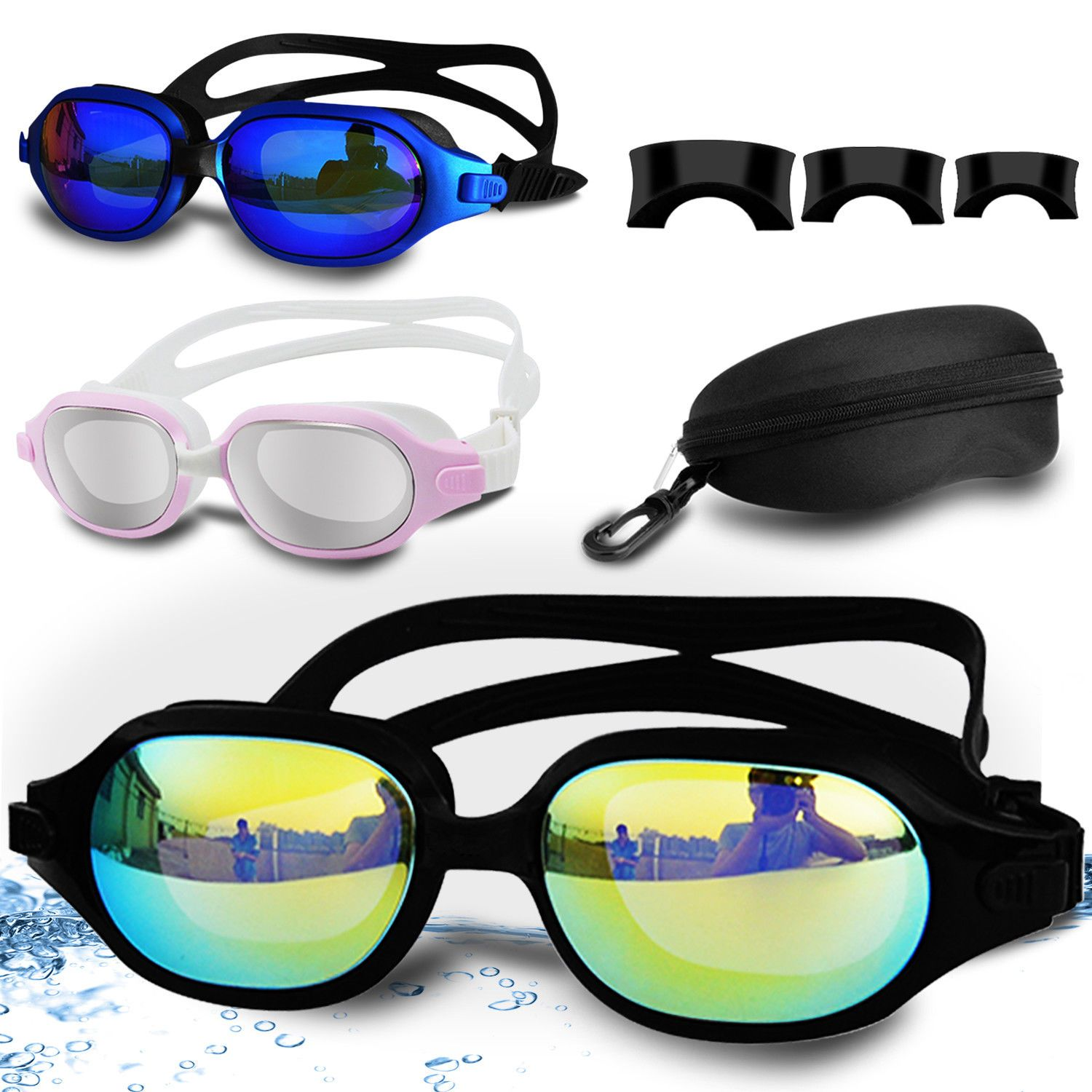 80553258f378 Swimming Goggles Anti Fog UV Protection Adult Clear Swim Glasses Adjustable  Mask