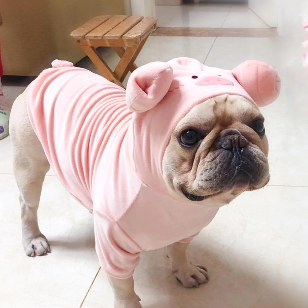 Pink Piggy Dog Costume Hoodies for Small Dogs