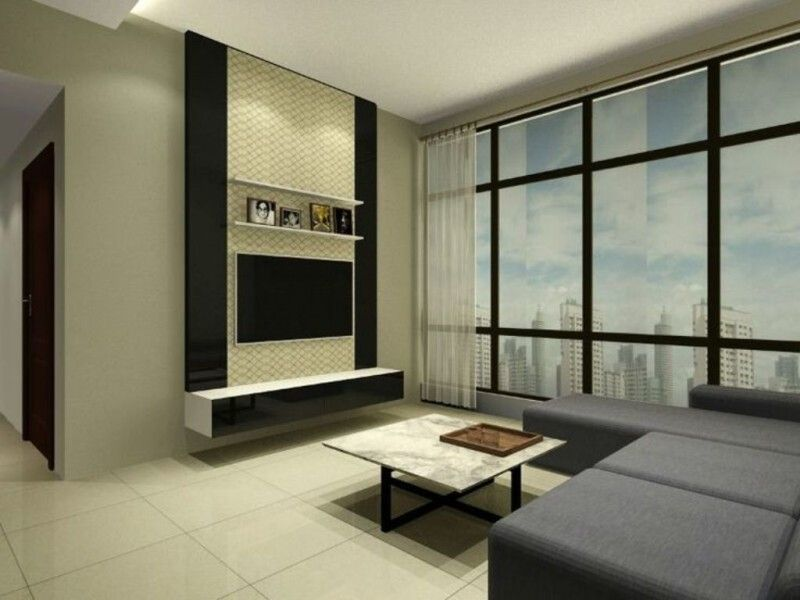 Furniture, Modern Glass Wall With Black L Shaped Sectional Sofa And  Decorative Wall Mount TV