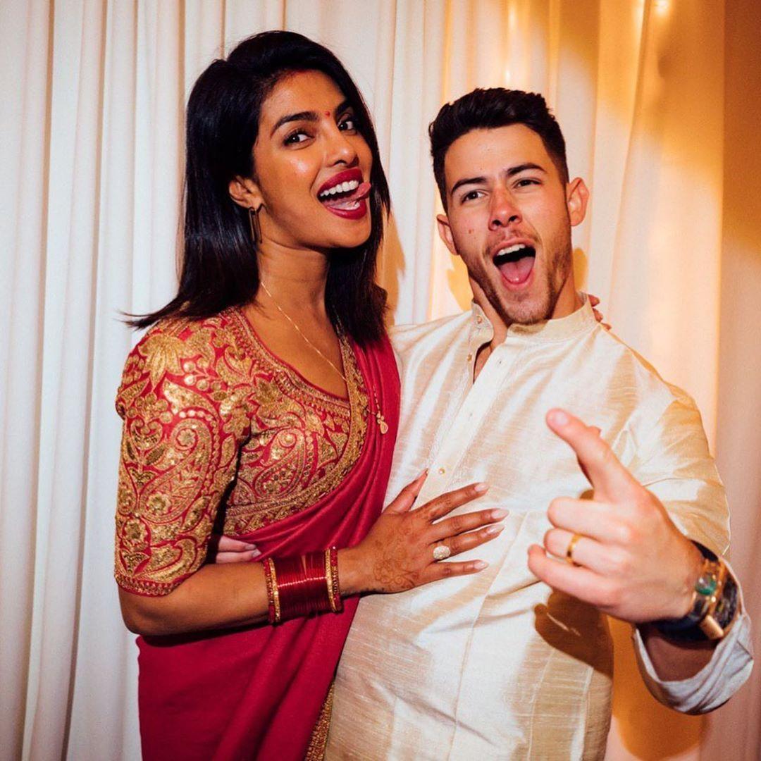 Bollywood Actress Priyanka Chopra With Her Husband Nick Jonas Celebrating Karwa Chauth Actress Priyanka Chopra Priyanka Chopra Celebrities