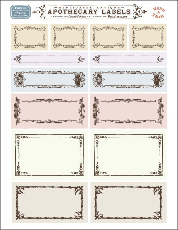 Free replicated antique ornate blank Apothecary labels for artisans