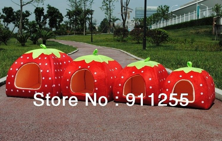 Free shipping New strawberry pet house for small dog and catpet kennel tent with & Free shipping New strawberry pet house for small dog and catpet ...