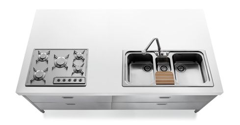 alpes inox freistehende k chenmodule 220 cm als insel loft living pinterest k che. Black Bedroom Furniture Sets. Home Design Ideas