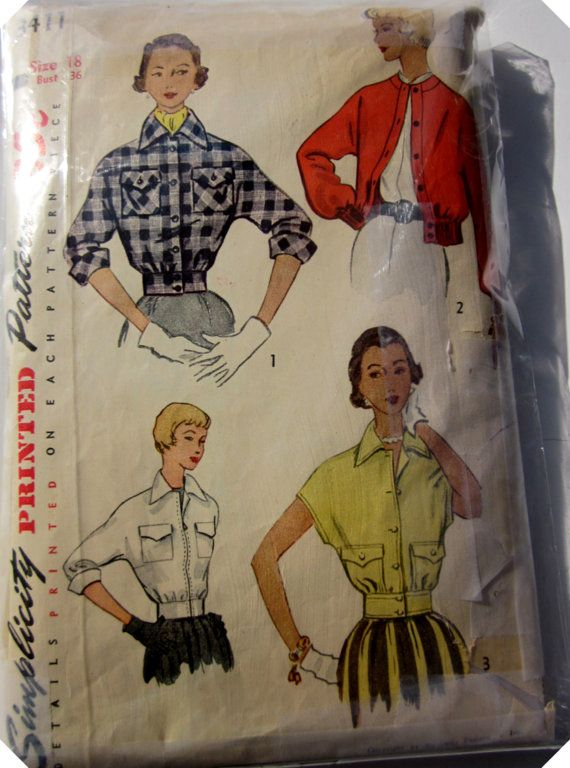 Vintage 1950s Simplicity 3411 Misses Jacket by Denisecraft on Etsy, $7.99