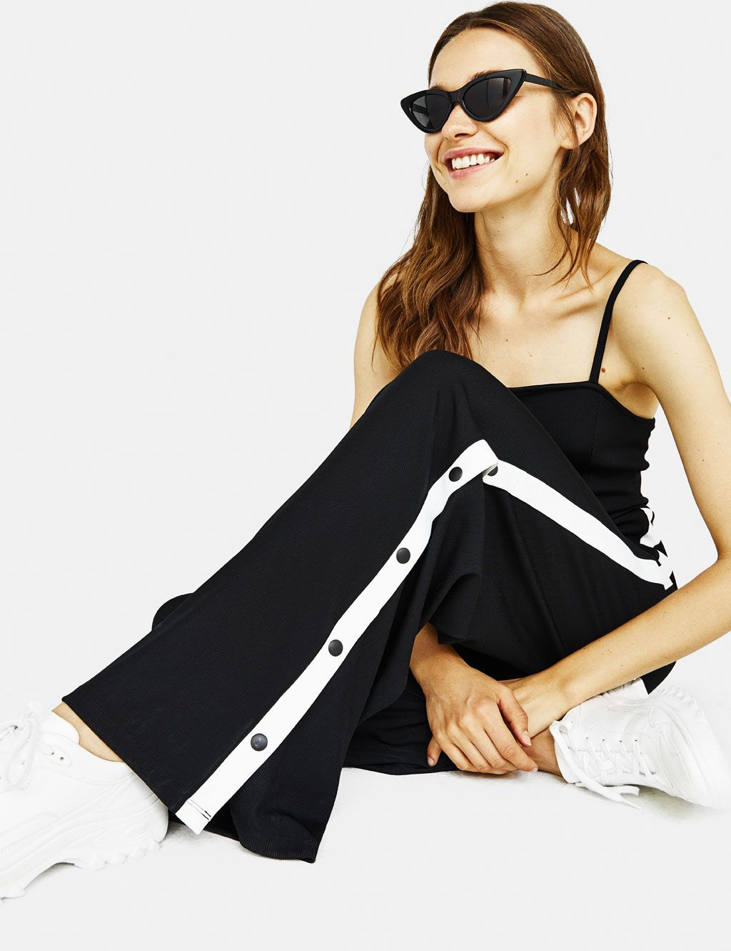 34b9be8b7f0f Long ribbed jumpsuit with snap buttons - Bershka  newin  new fashion   clothes  trend  trendy  cool  2018  tendencia moda  outfit  outfits ideas inspiration  ...