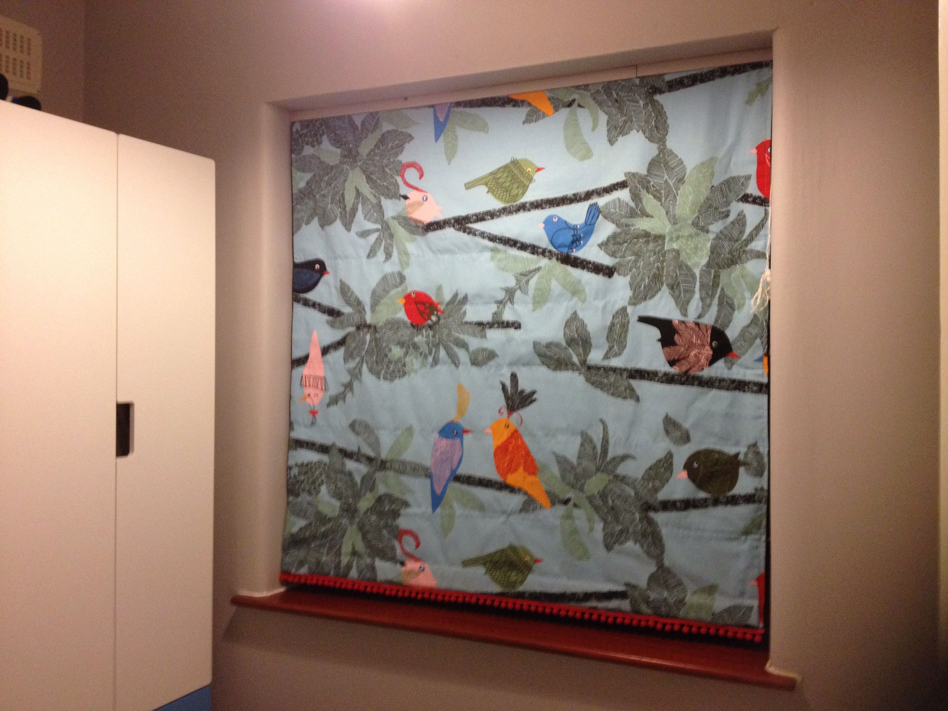 Black Out Roman Blind Made Using Ikea Bird Print Fabric