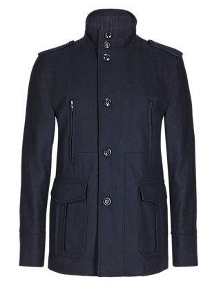 Wool Blend Military Overcoat   M&S