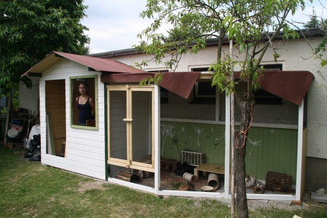 Aussengehegebau Villa Lowenzahn Kaninchengehege Kaninchenhaus Kaninchenkafig