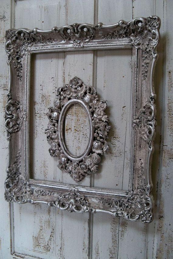 French Farmhouse White Putty Gray Frame Set By