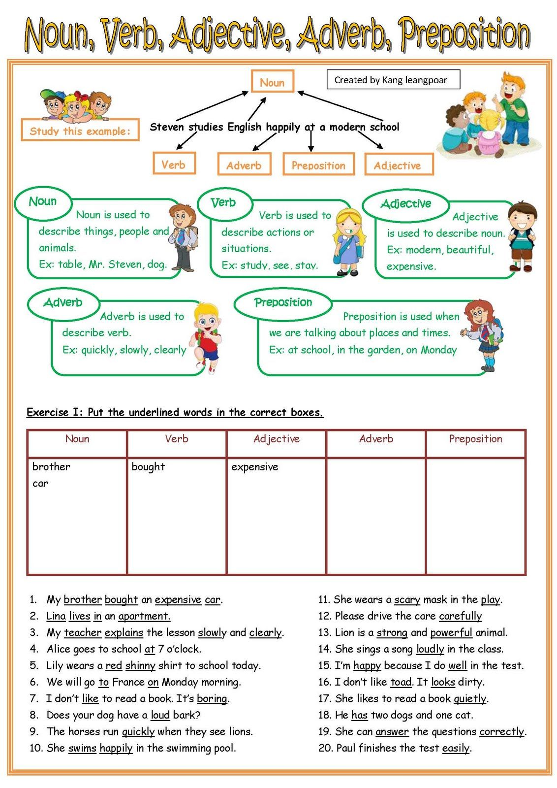 Noun Verb Adjective Adverb Worksheet With Answers