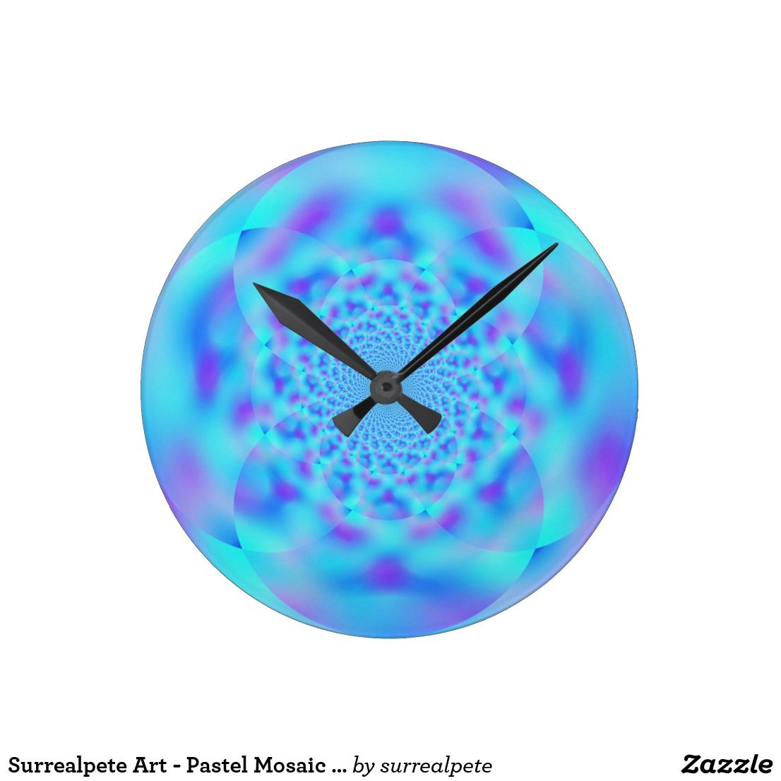 Surrealpete art pastel mosaic inversion round clock pinterest