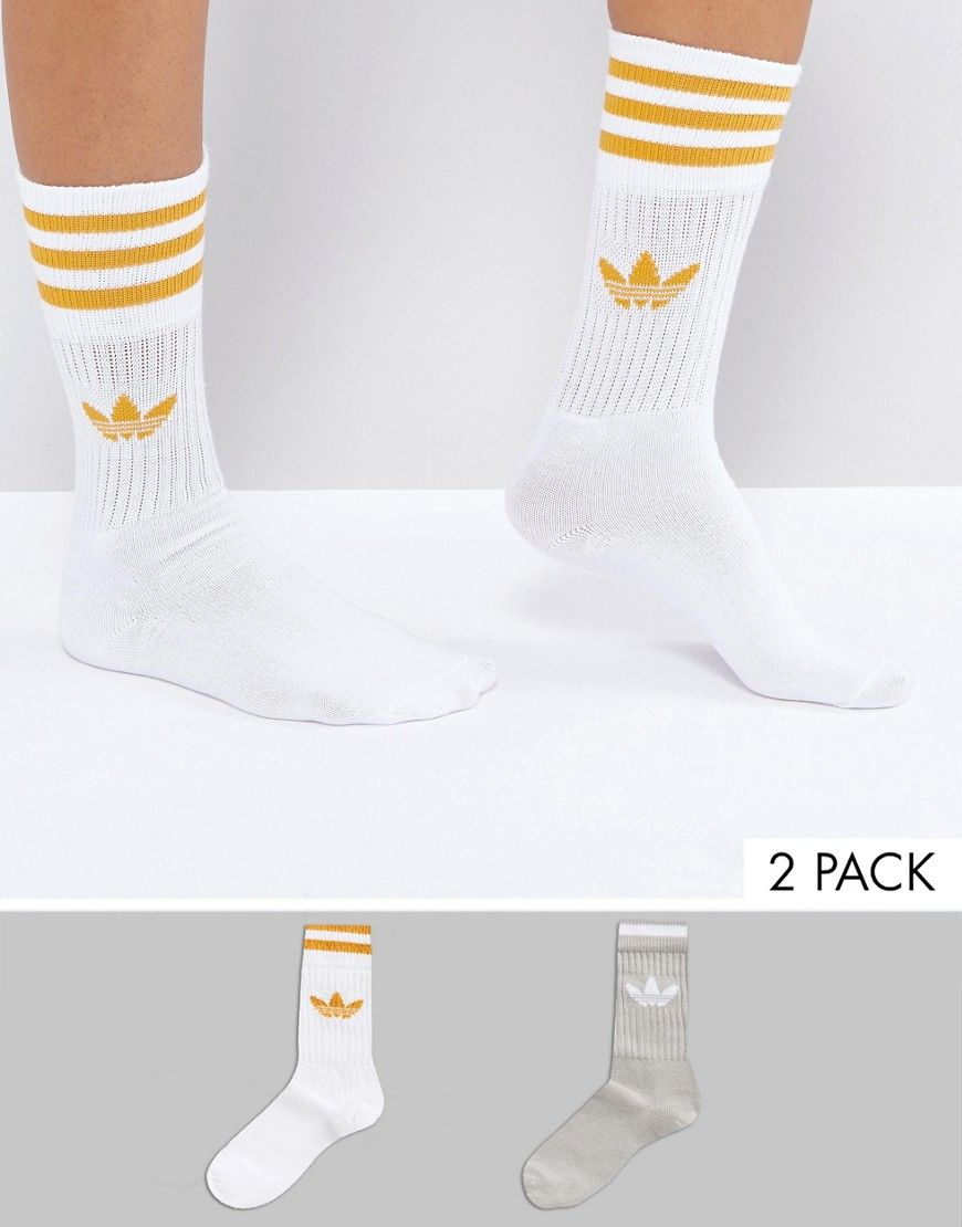 Adidas Originals 2 Pack Crew Socks In Gray And Yellow Gray