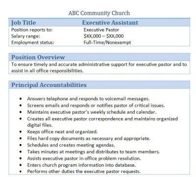 Executive Assistant to Executive Pastor Job Description forms
