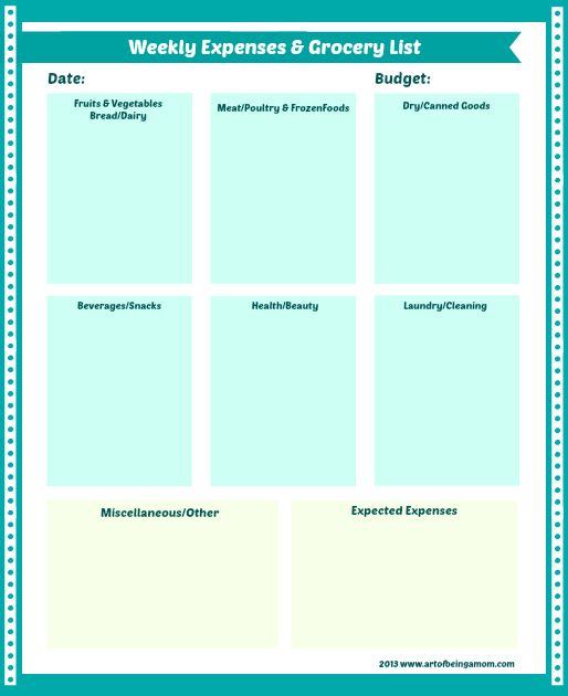Weekly Expenses  Grocery List #blogboost Planners Pinterest