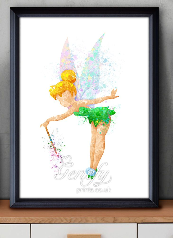 Disney Tinkerbell Fairy Pixie Dust Watercolor Painting Art Poster