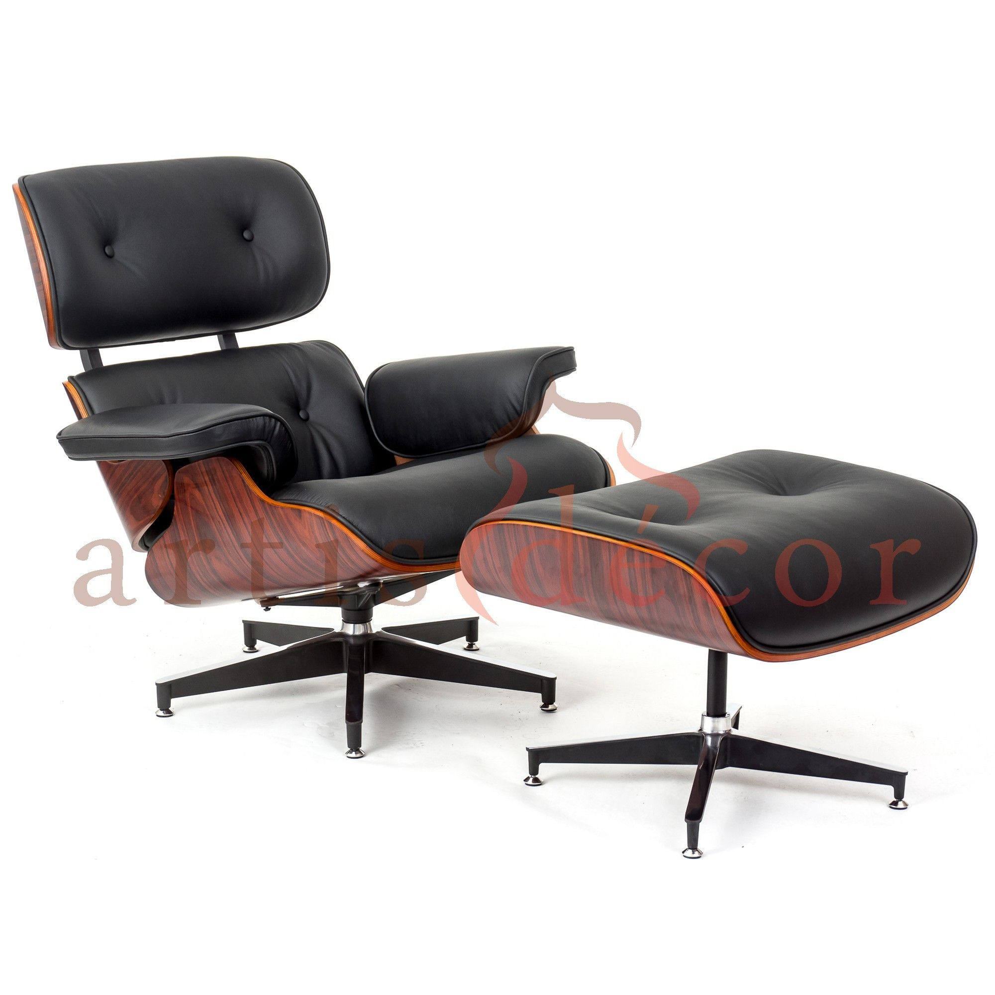 Rosewood Lounge Chair And Ottoman Black Leather Replica Artis