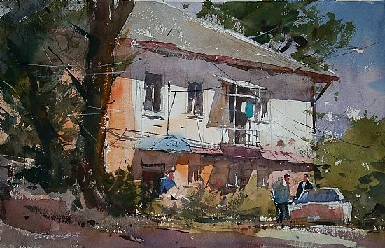 Midday by Eugen Chisnicean Watercolor ~ 36cm x 54cm