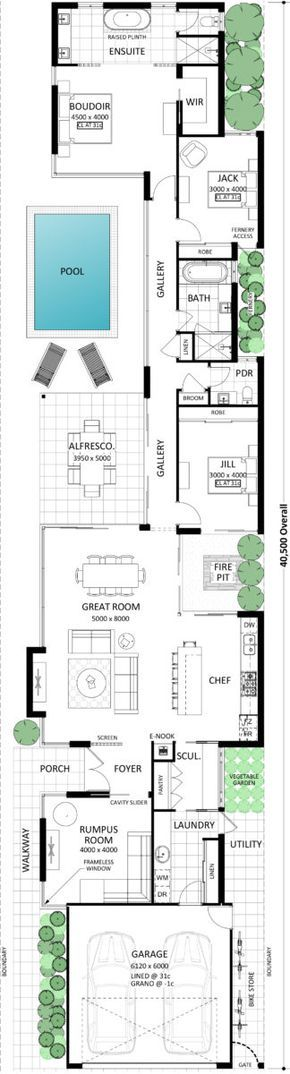 The Lugano Is Sure To Make A Few Jaws Drop Proving A Narrow Block Doesn T Mean You Can T Have It All B Narrow House Plans Best House Plans Floor Plan
