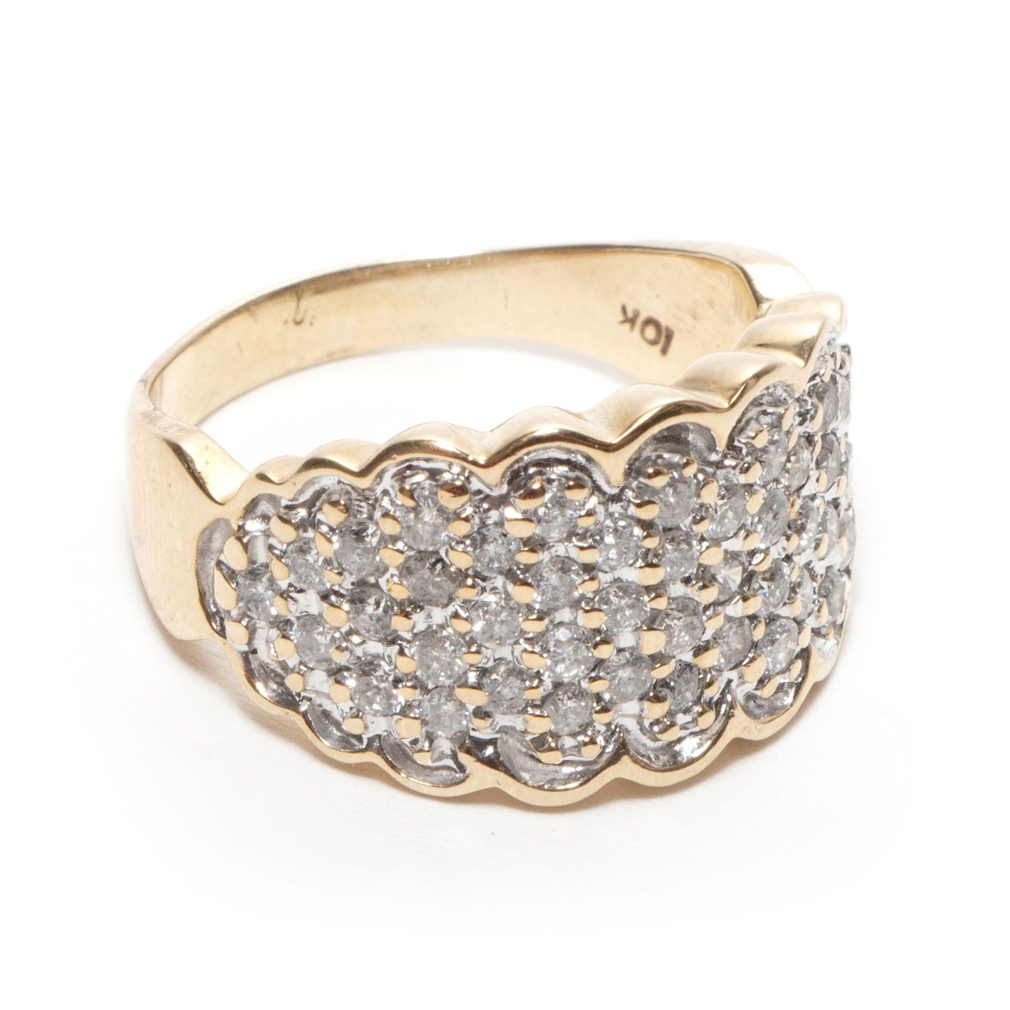 This 10kt Yellow Gold Ring Has A Scalloped Pattern That Frames A White Gold Face Studded With Diamonds The Diamon Gold Face Yellow Gold Cluster Ring